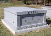 2 CRYPT GRAY GRANITE ALL STEEL WITH GABLE TOP MAUSOLEUM
