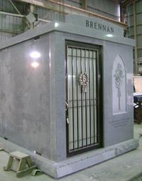 GRAY GRANITE 3 CRYPT WALK IN MAUSOLEUM  BRONZE DOOR STAINED GLASS WINDOW